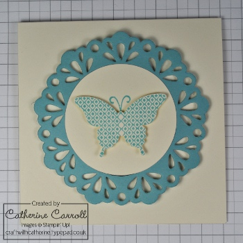 Papillon Potpourri card with delicate doilies