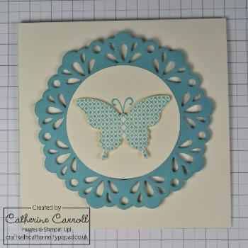 Papillon Potpourri card with delicate doilies